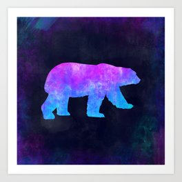 POLAR BEAR IN SPACE // Animal Graphic Art // Watercolor Canvas Painting // Modern Minimal Cute Art Print