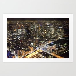 Melbourne By Night Art Print
