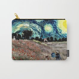 Monet's Poppies with Van Gogh's Starry Night Sky Carry-All Pouch