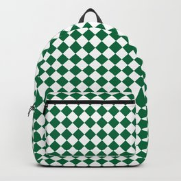White and Cadmium Green Diamonds Backpack