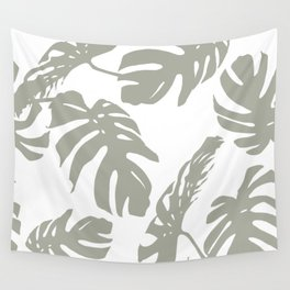 Simply Retro Gray Palm Leaves on White Wall Tapestry