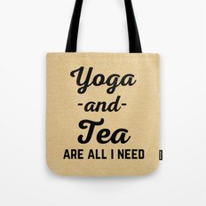 Yoga And Tea Funny Quote Tote Bag