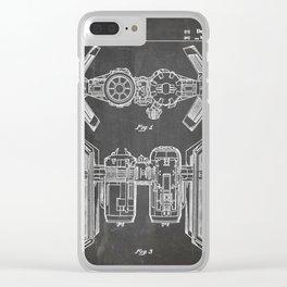 Starwars Tie Bomber Patent - Tie Bomber Art - Black Chalkboard Clear iPhone Case