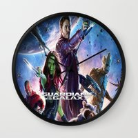 guardians of the galaxy Wall Clocks featuring guardians of the galaxy by store2u