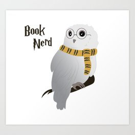 Book Nerd Hedwig - Hufflepuff Art Print
