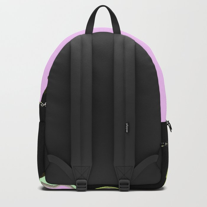 Spring mood - singing bird - black bird on a pink background Backpack