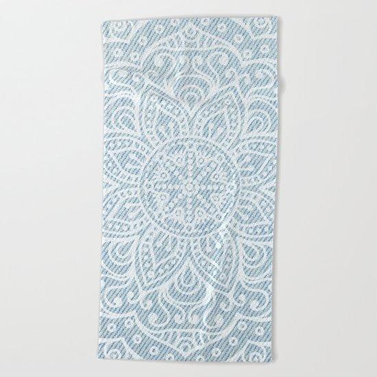 Mandala on Light Blue Jeans Beach Towel