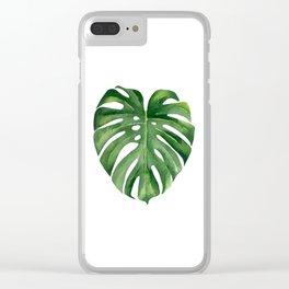 Tropical green leaf. Clear iPhone Case