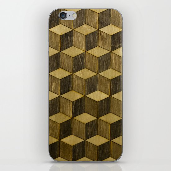 Optical wood cubes iPhone & iPod Skin