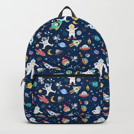Outer Space Astronauts Aliens Pattern Blue Backpack