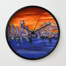 Ben Franklin Bridge Sunset Wall Clock
