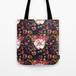 Gentle Pink and Coral Peony Bouquets on Black  Tote Bag