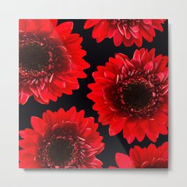 Red Flowers On A Black Background #decor #buyart #society6 Metal Print