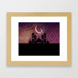 Purple & Gold Arabian Nights Half Moon Framed Art Print