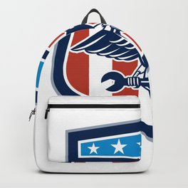 American Eagle Mechanic USA Flag Crest Backpack
