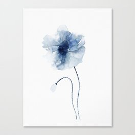 Blue Watercolor Poppies #2 Canvas Print
