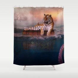 Octopus and Shark Attacks Tiger by GEN Z Shower Curtain