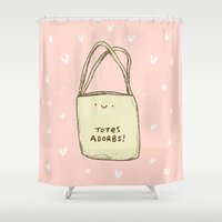 totes Shower Curtains featuring Totes Adorbs! by Sophie Corrigan
