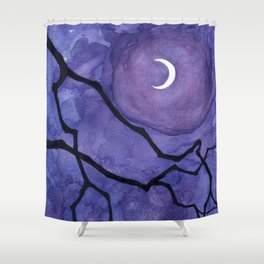 Crescent Moon and Night Sky  Shower Curtain