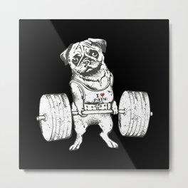 Pug Lift in Black Metal Print
