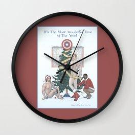 Team Cap Naughty Pinup Holiday Card Wall Clock