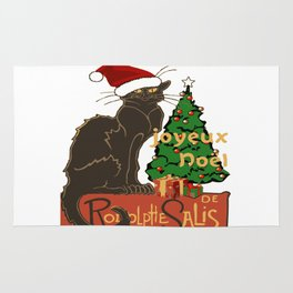 Joyeux Noel Le Chat Noir With Tree And Gifts Rug
