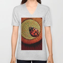 Ladybug On A Red Flower Unisex V-Neck