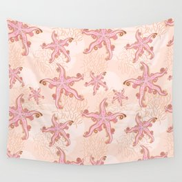 Starfish and Coral Pink Pastel Pattern Wall Tapestry