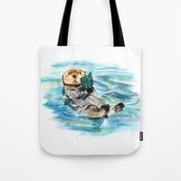 otter Tote Bags featuring Otter by Anna Shell