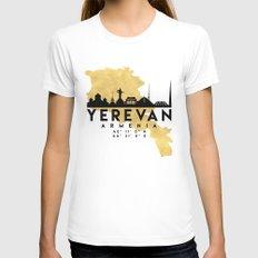 YEREVAN ARMENIA SILHOUETTE SKYLINE MAP ART White Womens Fitted Tee MEDIUM