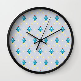 Rockets and stars pattern Wall Clock