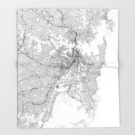 Sydney White Map Throw Blanket