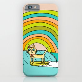 Rad Surf Kitty Tastes the Rainbow Single Fin Longboard iPhone Case