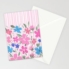 Floral Spring and Stripes Pink Stationery Cards