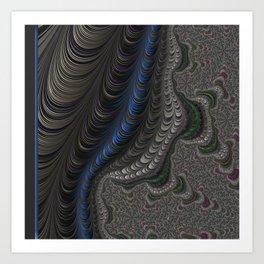 Royal Blue, grey, emerald green and pink coiled fractals Art Print