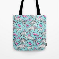 Dinosaurs and Roses - turquoise blue Tote Bag