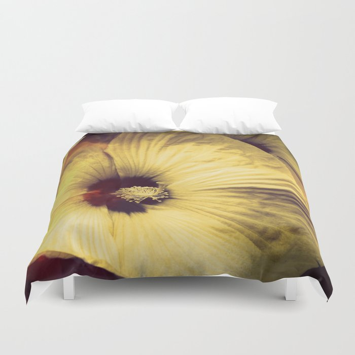 Yellow Flower in Smoke and Flames Duvet Cover