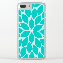 Turquoise Chrysanthemum Clear iPhone Case