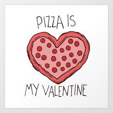 Valentine Pizza Art Print