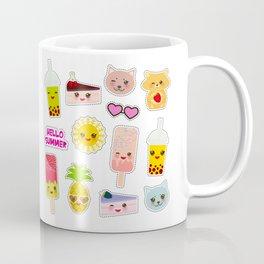 Hello Summer. Pineapple, cherry smoothie cup, ice cream, sun, cat, cake, hamster. Kawaii cute face. Coffee Mug