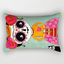 Day Of The Dead Frida with Black Cat Rectangular Pillow