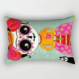 Day Of The Dead Black Cat Rectangular Pillow