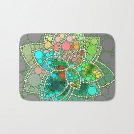 Bubble Green Abstract Flower Design Bath Mat