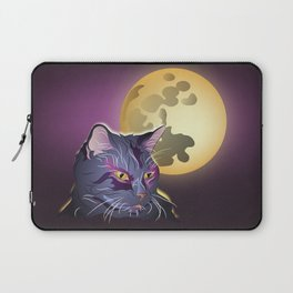 Dark Cat and Full Moon Laptop Sleeve