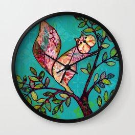 Squirrel mixed media Wall Clock