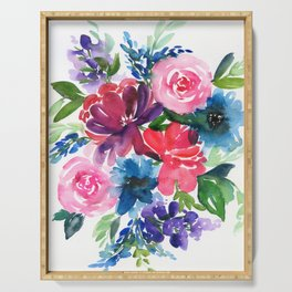 peony bouquet in cold colors Serving Tray