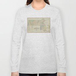 Vintage Geological Map of Massachusetts (1841) Long Sleeve T-shirt
