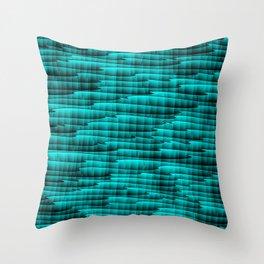 Square cross light blue lines on a dark tree. Throw Pillow