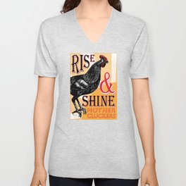 Rise and Shine Mother Cluckers | Rooster at Dawn | Vintage Roosters and Chickens | Unisex V-Neck