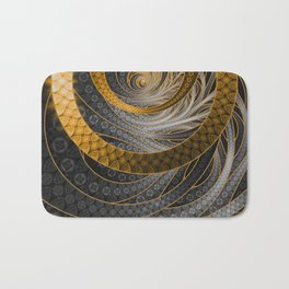 Banded Dragon Scales of Black, Gold, and Yellow Bath Mat